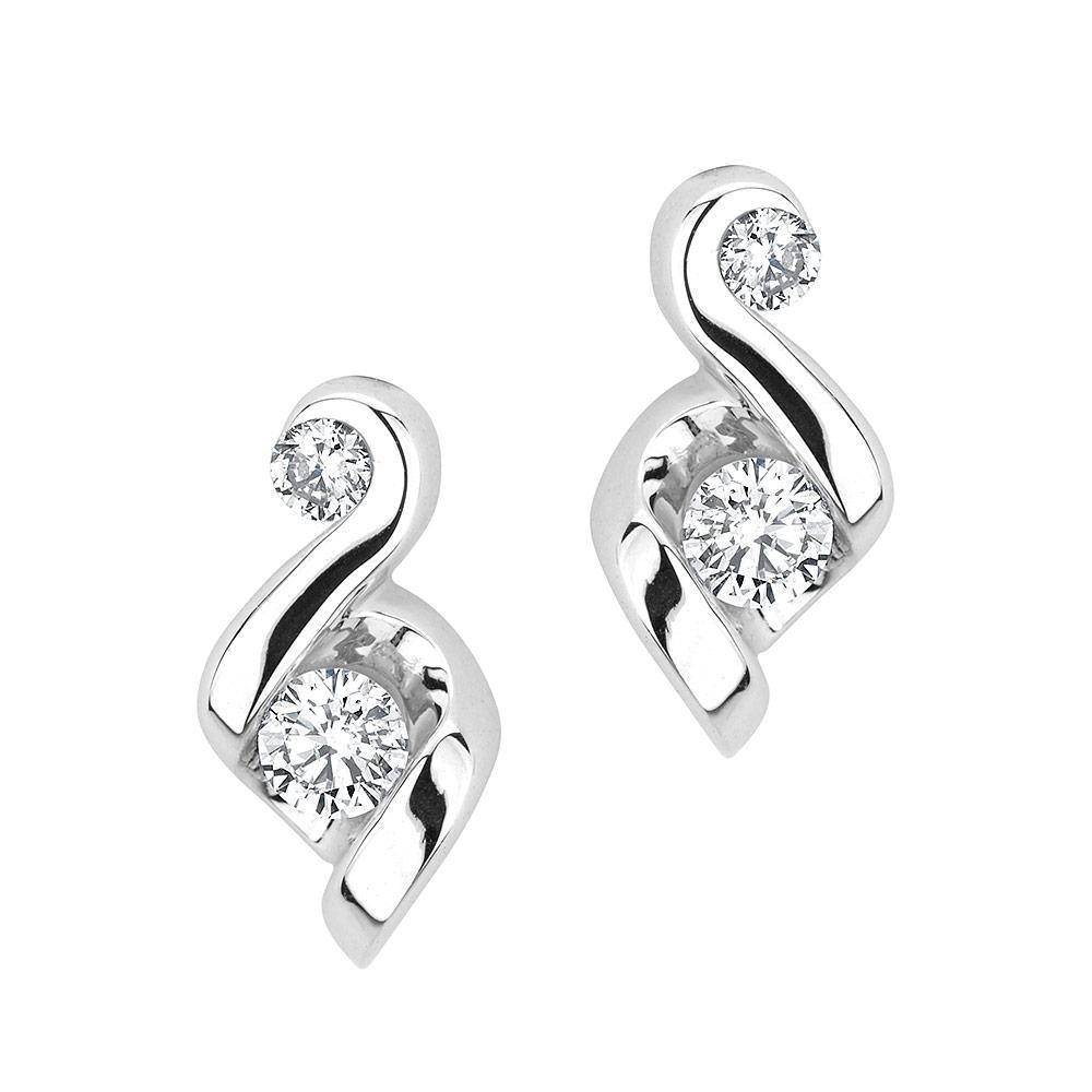 JUNO LUCINA   14k White Gold diamond earrings with diamond accent.  Starting at $849  Husar Price $699