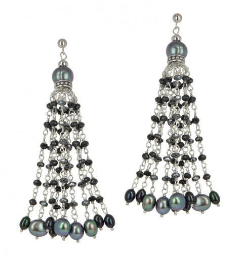 HONORA   Sterling Silver 4-8.5MM Black and Jet Freshwater Cultured Pearl with Mixed Gemstone Dangle Earrings  $350