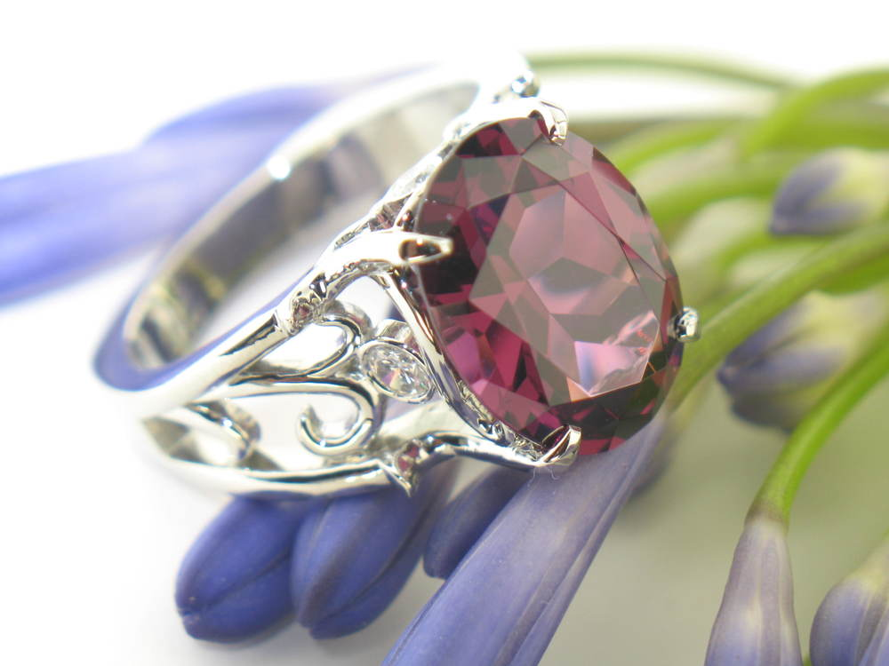 Custom White Gold Ring with 6.7 Carat Rhodelite