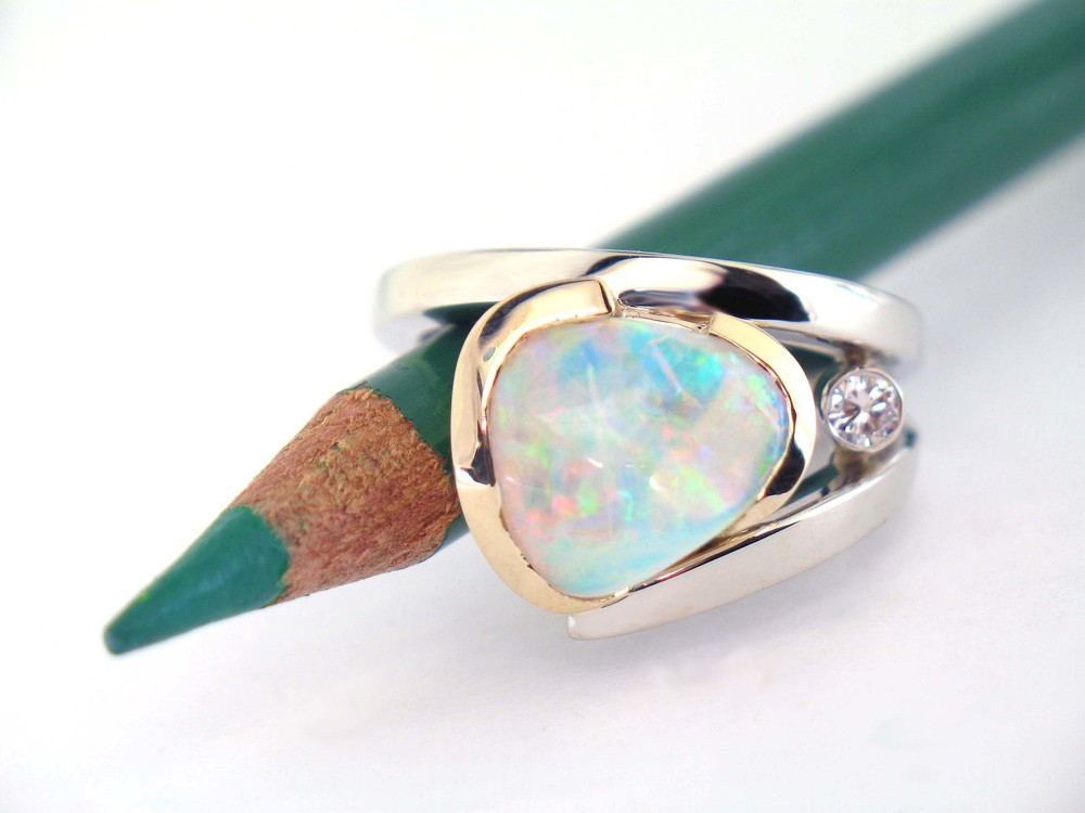 Custom White Gold Opal Ring