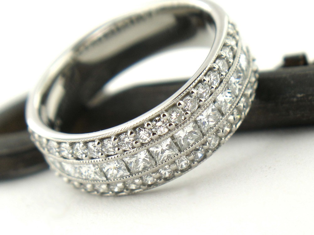 Custom Princess and Round Brilliant Wedding Band