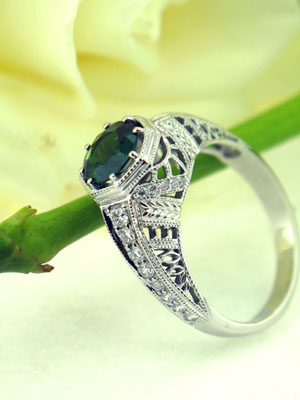 White Gold and Diamond Green Tourmaline Custom Ring