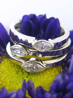 Custom White Gold Stackable Bezel Set Diamond Rings
