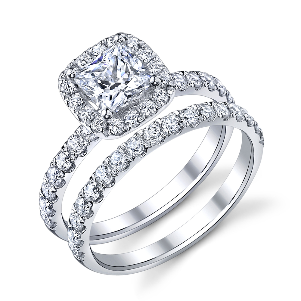 ENGAGED BY HUSAR Style No, R_9885 Princess Cut Cushion Halo Bridal Set Starting at $1749