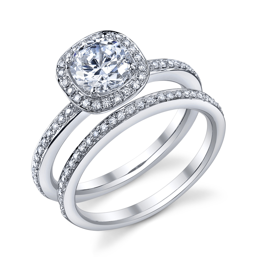 ENGAGED BY HUSAR Style No, R_9328 Round Cut Cushion Halo Bridal Set Starting at $1949