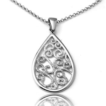 "CHARLES GARNIER  Sterling silver Filigree Pendant 18"" Sterling silver chain  $135"