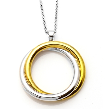 CHARLES GARNIER  Sterling silver / Yellow gold overlay crossover circle pendant $135