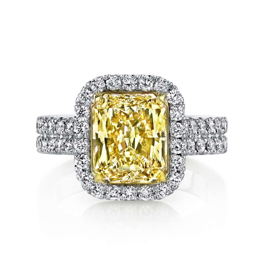Spectacular Husar Signature 3.01 carat Fancy Yellow Diamond in hand-crafted, 1.07 cttw, platunum mounting. Retail $58,599  Husar Price $46,999