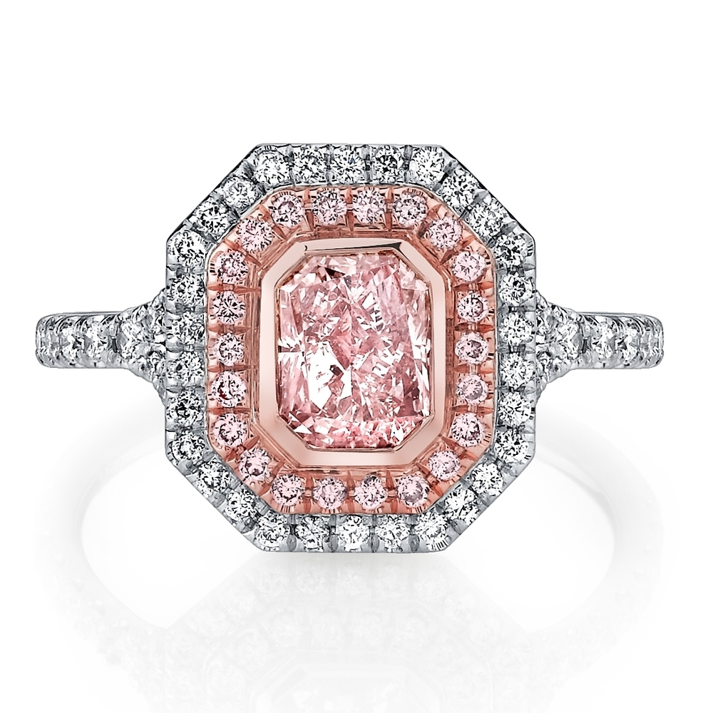 Rare Husar Signature 1.00 carat Fancy Light Pink Diamond in hand-crafted, 0.48 cttw, 18k white & rose gold mounting. Retail $86,999  Husar Price $69,999