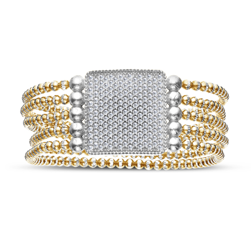 FourKeeps - 5 Row Bracelet, Pave Square - $365