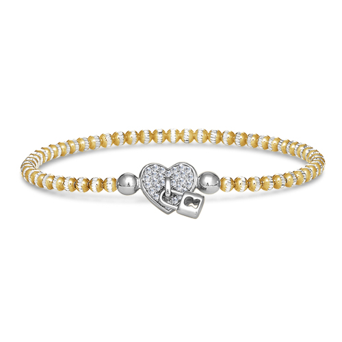 FourKeeps - 1 Row Bracelet, Locked Heart - $100