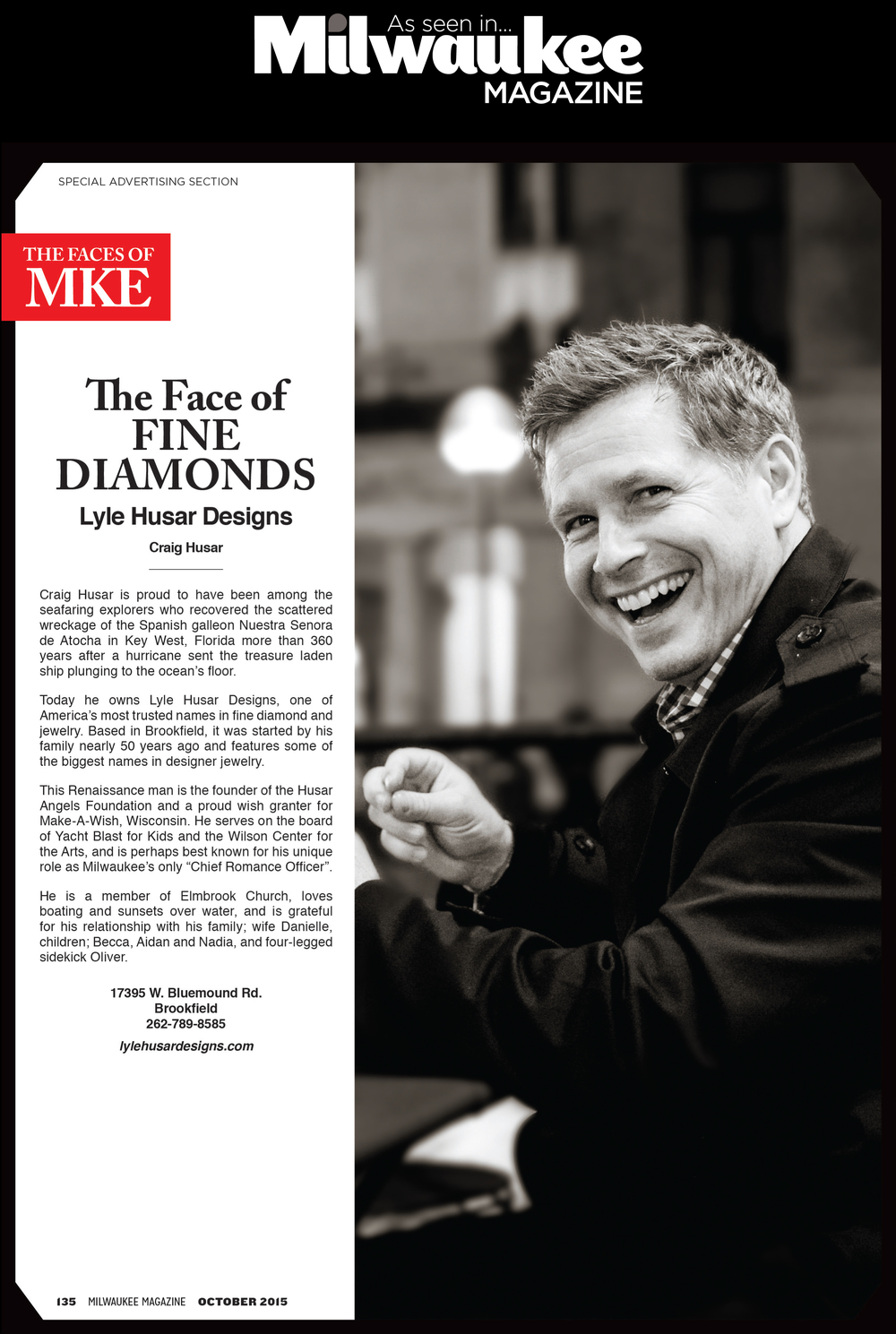 Craig Husar, The Face of Fine Diamonds, As Seen In Milwaukee Magazine
