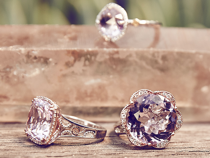 Lilac Blossoms - Radiant spring-filled Lilac Blossoms allow your style to bloom. A dainty and romantic collection, hues of Amethyst, Rose Amethyst, Diamonds and Chalcedony add an elegant flush of color and spring.