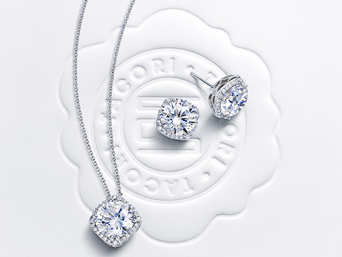Encore - Celebrate the symbol of your everlasting love by completing your look with a matching set. With diamond pendants and earrings to complement your beautiful Tacori diamond engagement ring, you'll think of your love every time you look in the mirror.