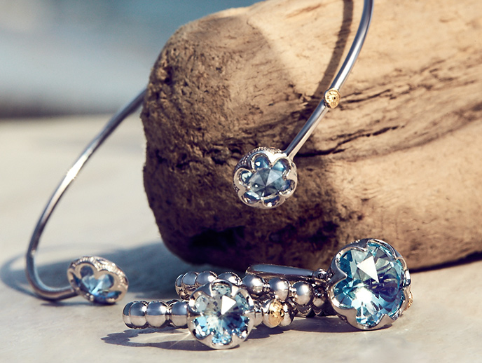 Sonoma Skies - The sultry, sweet Sonoma Skies illuminate the California vineyards with their warm rich hues, and brighten your jewelry box with briolette round cut Amethyst and brilliant Sky Blue Topaz. Light up your day with the delicate designs of the Sonoma Skies Collection.