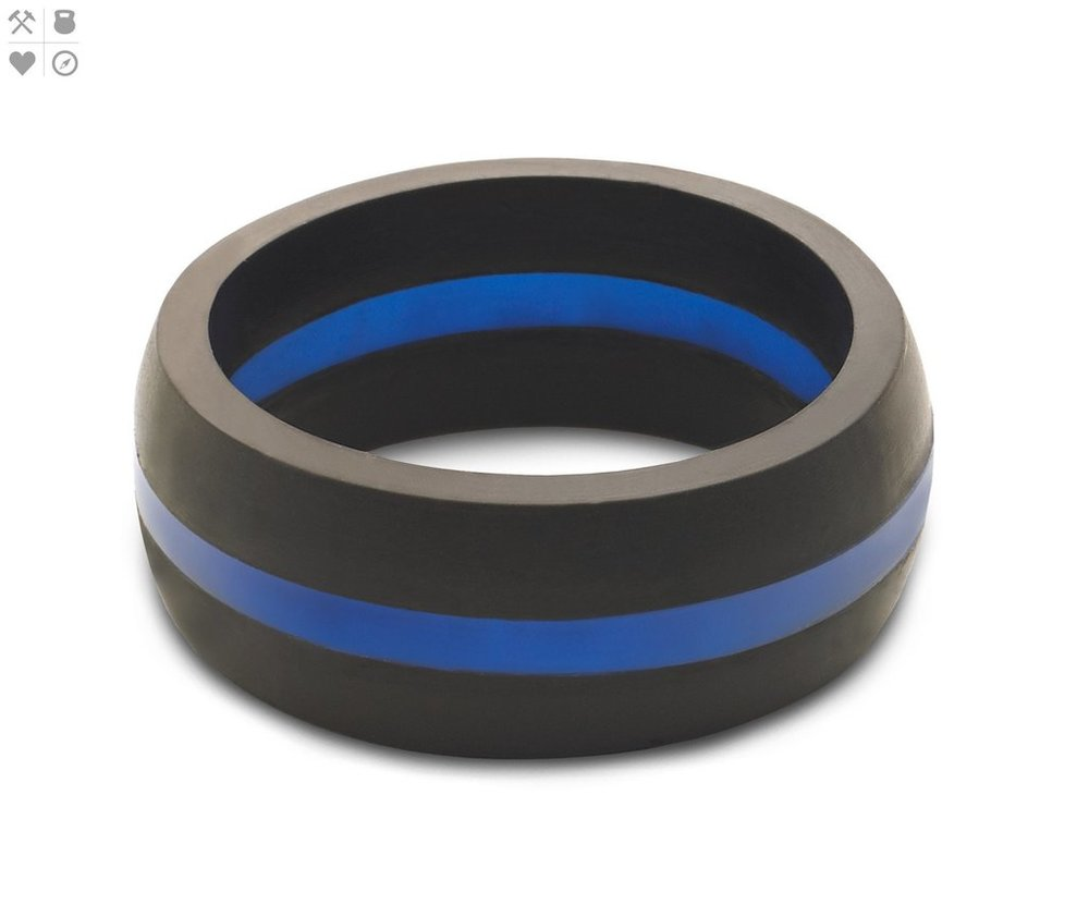 Qalo Men's Thin Blue Line Silicone Ring $24.95