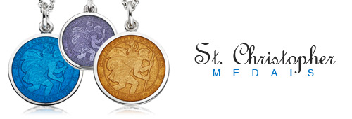 "St. Christopher - The patron saint of travelers. The St. Christopher medal depicts a bearded, middle-aged man. Upon his shoulders sits a child representing Christ, and in his hand is a staff. It is inscribed with ""Saint Christopher Protect Us""."