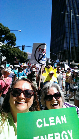 Cheri Metier and   Rev. Lauren Buck Medeiros, Chaplain at Punahou School ,  together   at the San Diego People's Climate March