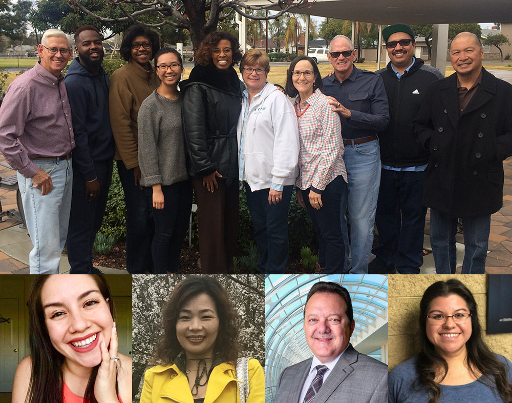 2018-2019 Search Committee: (Top photo, L-R): Tom Perring, Larry Morris, Carol Warsaw, Lydia Yang, Joi Robinson, Louise Sloan-Goben, Cathy Perring, Ben Bohren, Rogelio Martinez, Ed Ramolete. (Lower photos, L-R): Janette Jara, Judy Hong, Rip Rippentoe, Shobie Lopez.