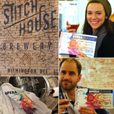 OperaDelaware artists (clockwise from top: mezzo-soprano Alexandra Rodrick, tenor Matthew Vickers) sampling the High Note Abbey Dubbel at Stitch House Brewery. Expected on tap by April 24