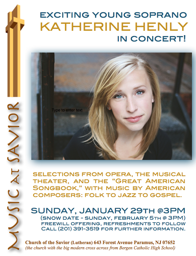 Katherine Henly in concert at Church of the Savior JAN. 29