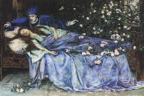 "Henry Meynell Rheam, ""Sleeping Beauty,"" Public Domain image."