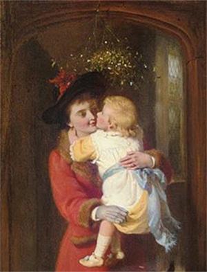 """A Christmas Kiss"" byGeorge Bernard O'Neill. Public Domain image."