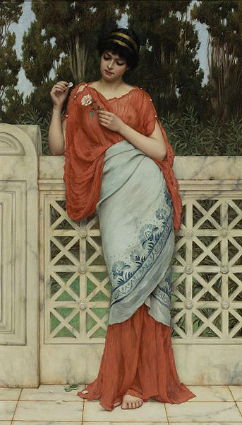 """He Loves Me, He Loves Me Not"" by John William Godward, 1896. Public Domain image."