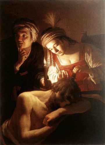 """Samson and Delilah"" by Gerard van Honthorst, 1615. Public Domain image."