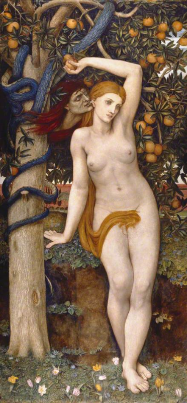"""Eve Tempted"" by John Roddam Spencer Stanhope, 1877. Public Domain image."