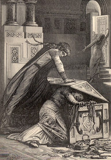 """"""" Frédégonde l'étranglait contre la planche inférieure,""""  Henriette De Witt, 1887. Public Domain image."""