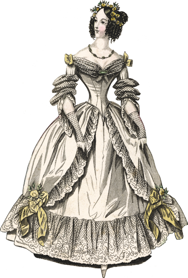 The World of Fashion; February 1838: EVENING DRESSES: Fig. 2. Public Domain image.