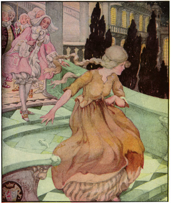 """Old, Old Fairy Tales: 'Cinderella'. She lost her slipper as she ran from the castle..."" Author: Anne Anderson (1874-1930). Public Domain image."
