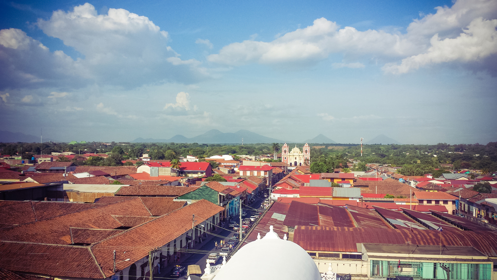 From the roof of the old cathedral we could see 12 of Nicaragua's volcanoes. Picture does not do it justice.
