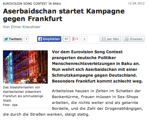 My blog post on anti-German propaganda launched in Azerbaijan's pro-governmental news media cited in Berliner Zeitung.