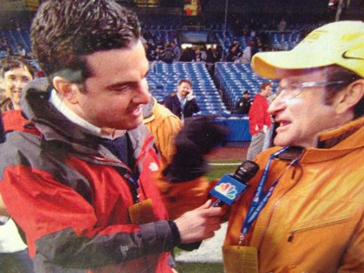 My husband Chris and Robin Williams at Yankee Stadium during the 2003 World Series. Though he often meets with many athletes and celebrities,  this was his most exciting, favorite interview of all time... He HAD to get a pic that day.