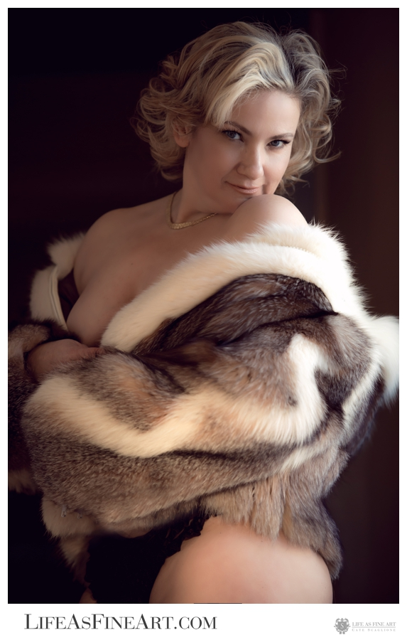 This was a favorite must-have shot from our session, featuring a fur inherited from her dear late mother, who was quite glamourous. We dedicated this moment to her Mom, knowing she'd be so proud of her beautiful confident daughter..