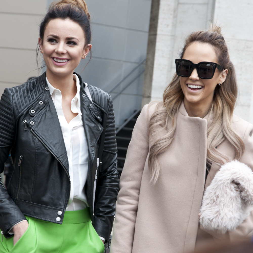 Sara Lynn Wardell (L) in French Connection / Botkier + Megan Mitchell (R) in Celine (sunglasses) and Zara (coat)
