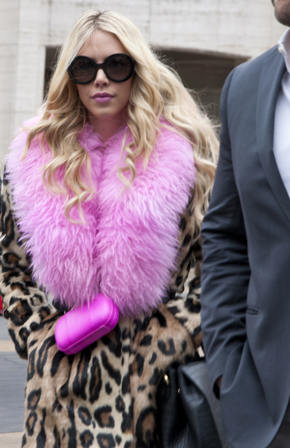 Kier Mellour wearing DVF - hot pink contrasting with cheetah print