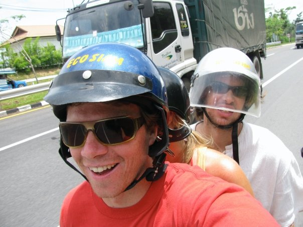 Here's us saving money in Thailand by copying the locals and cramming all of us onto a tiny scooter for the day.