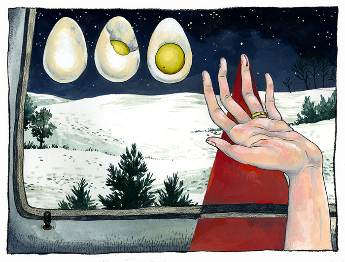 The Trail of Your Blood in the Snow,an illustration for the short story from Gabriel Garcia Marquez' collection, Strange Pilgrims.