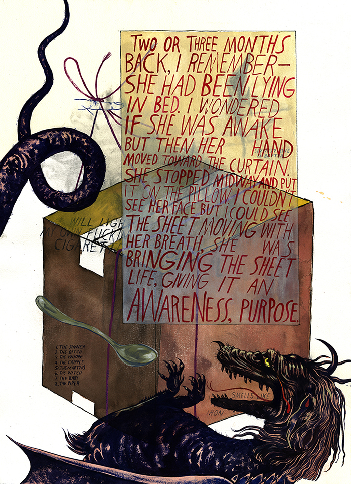 St. Nada and the Bulimic Dragon,  2015 Acrylic gouache and charcoal on paper 30 x 22 inches