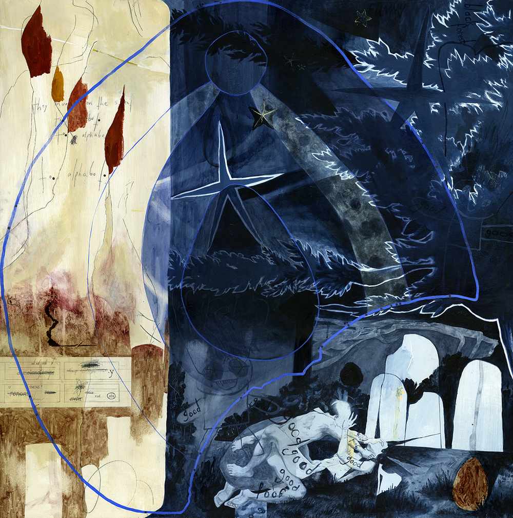 True Blue, 2015 Acrylic and charcoal on board 40 x 40 inches