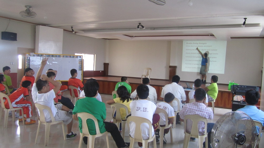 Teens on the autism spectrum listening and participating to my BodyKi  presentation, Philippines 2013