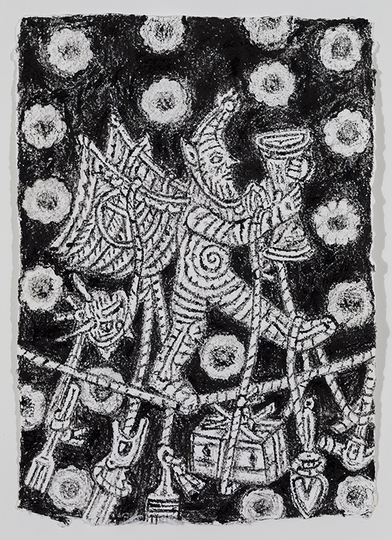 08. Kim Moodie u00ABSatyr on Tightrope with hanging tools  (2013) encre sur papier (36cm 26cm).jpg