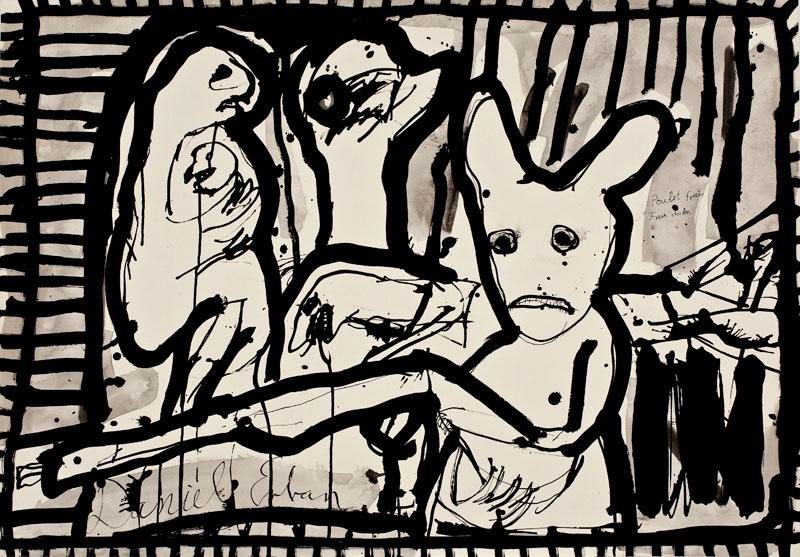 Daniel Erban «Poulet frais» (2002) technique mixte sur papier (70cm x 100cm)