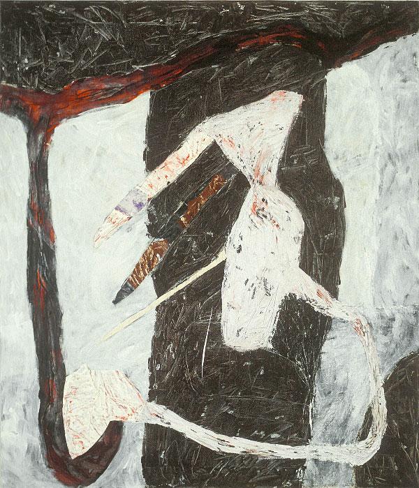 Marc Garneau «Urne IV» (1988) technique mixte sur toile (152cm x 122cm)