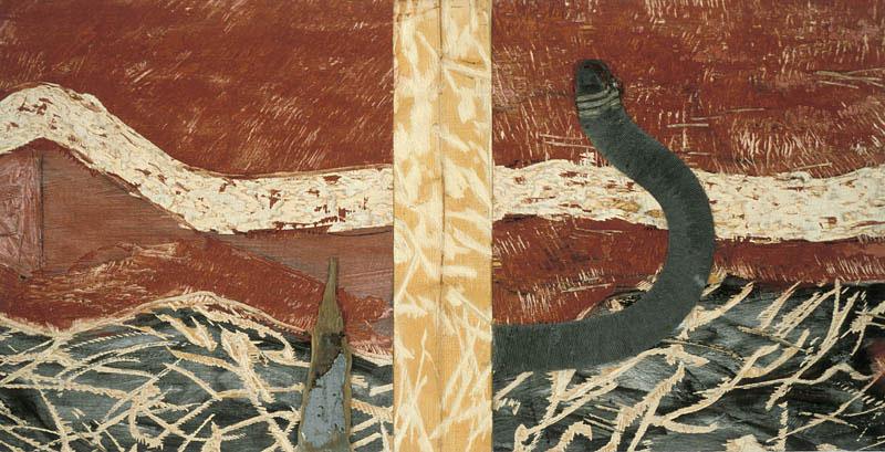 Marc Garneau «Scissions» (1995) technique mixte sur bois (128cm x 65cm)