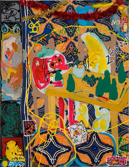 Étienne Chartrand «À table nihiliste» (2014) technique mixte sur toile (150cm x 112cm)