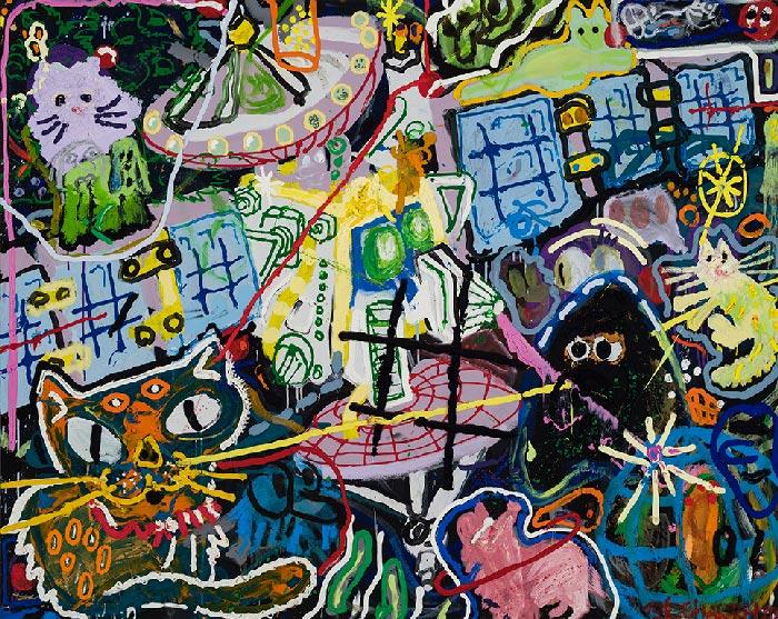 Étienne Chartrand «Le mythe de l'oeuvre d'art» (2015) technique mixte sur toile (121cm x 152cm)